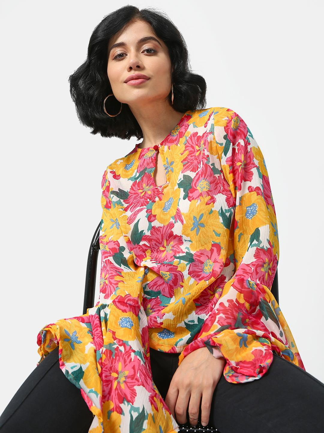Cation Yellow Floral Printed Ruffle Sleeves Top 1