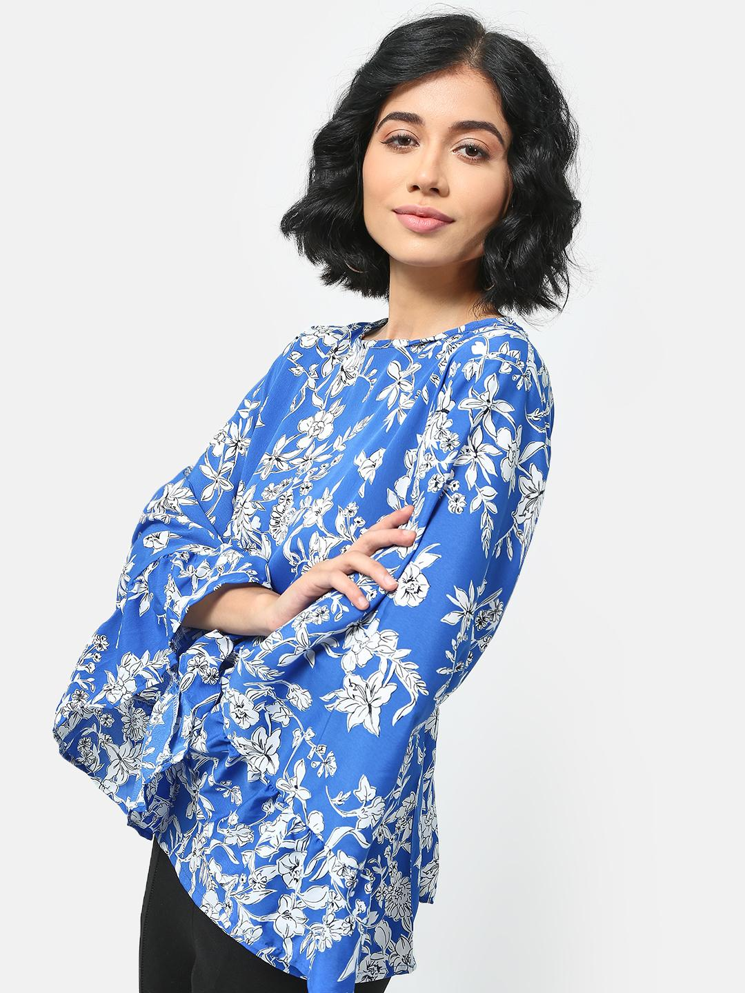 Cation Blue Floral Printed Loose Fit Top 1