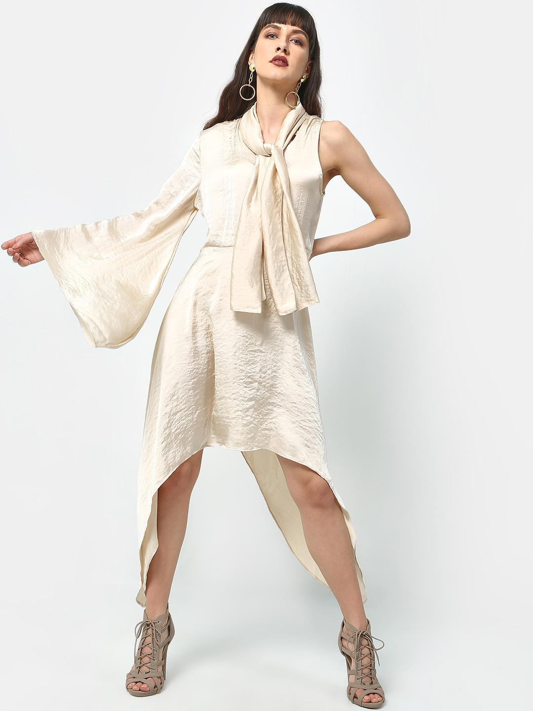ATTIC SALT Beige One Shoulder Asymmetric Dress 1