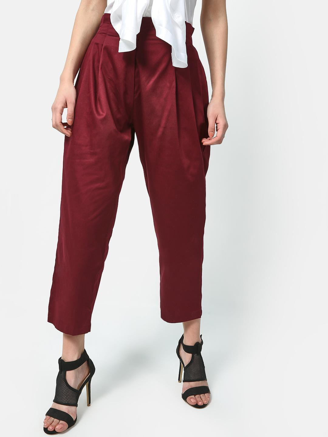 ATTIC SALT Mahogany Brown Paperbag Cropped Trousers 1