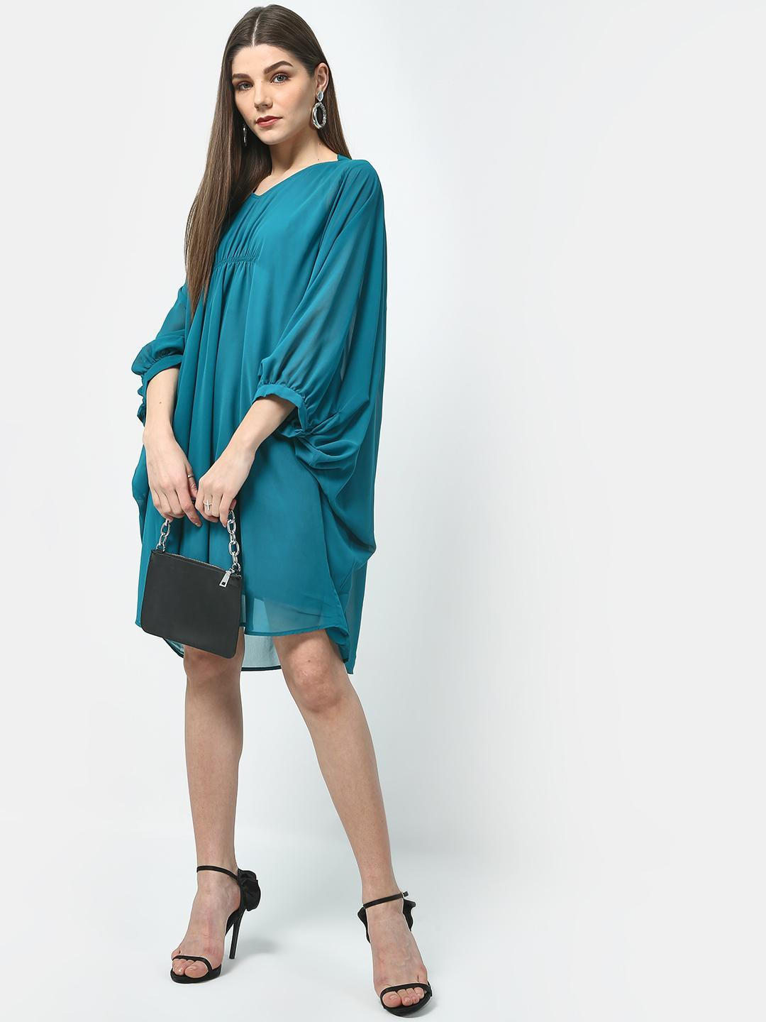 Turquoise Cinched Waist Dress