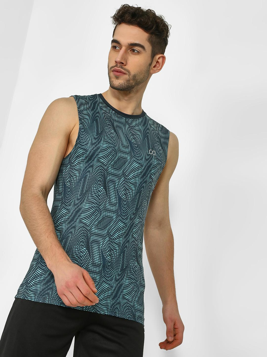 ONE/ZERO BY KOOVS Multi Abstract Illusion Print Training Vest 1