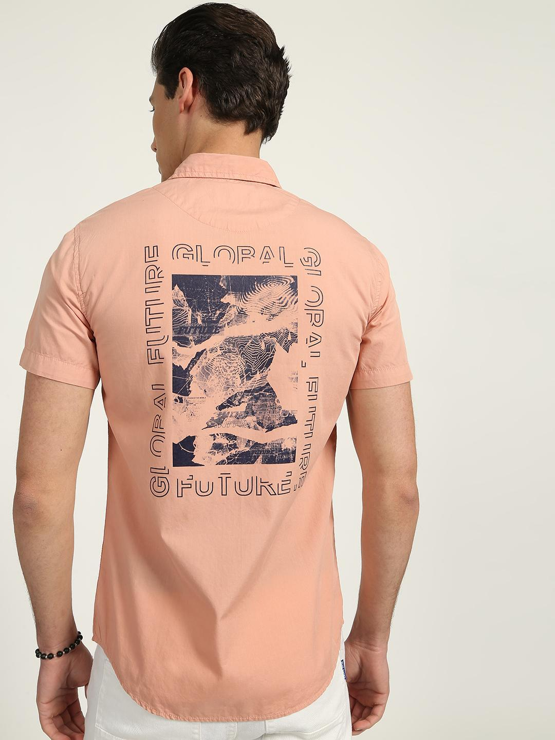 KOOVS Pink Graphic Printed Shirt 1