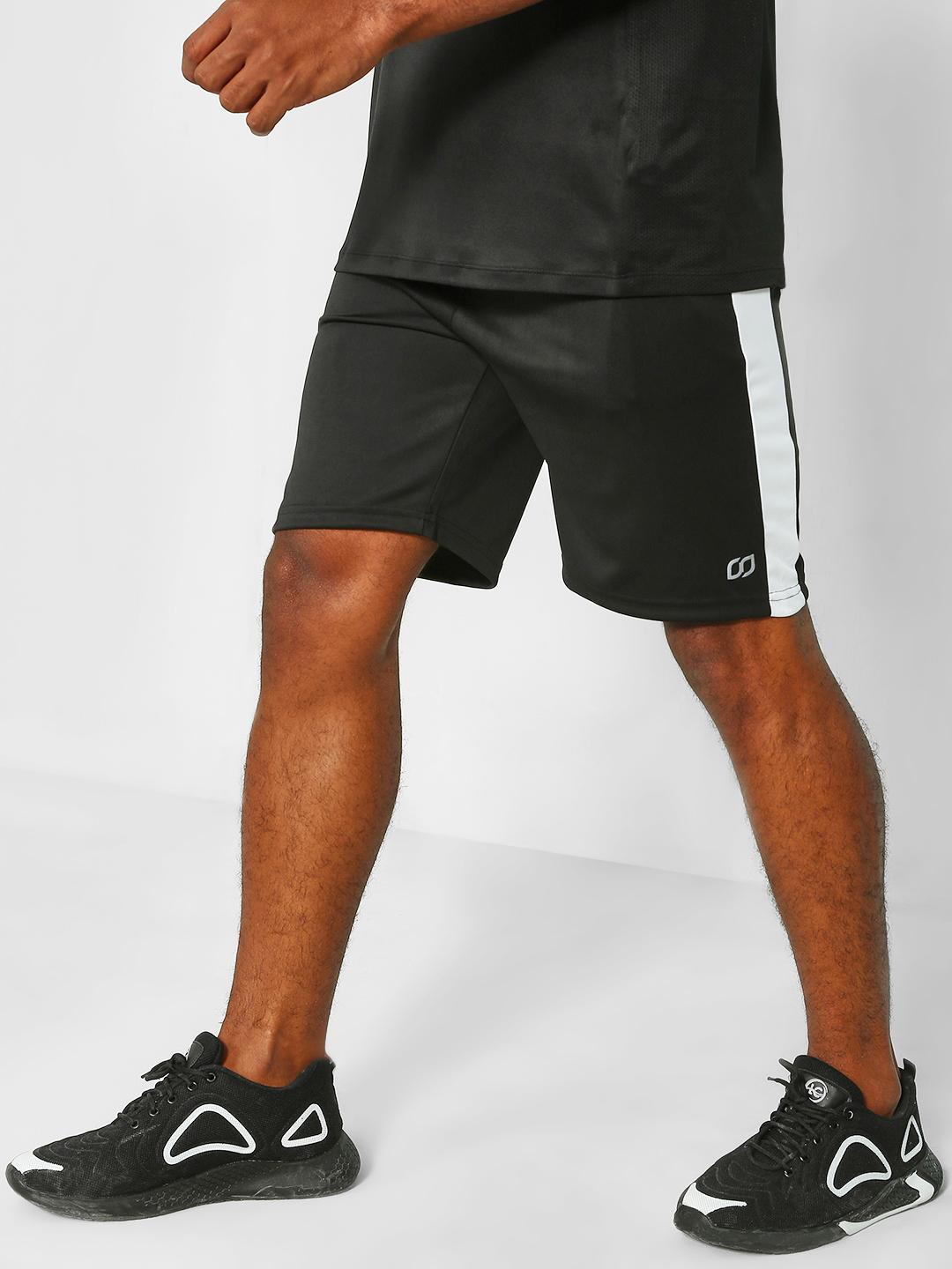ONE/ZERO BY KOOVS Black Contrast Panel Sports Shorts 1