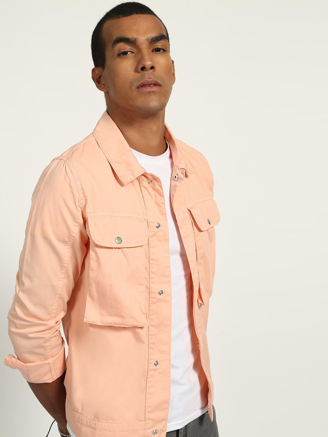 K Denim Pink Utility Pocket Jacket 1