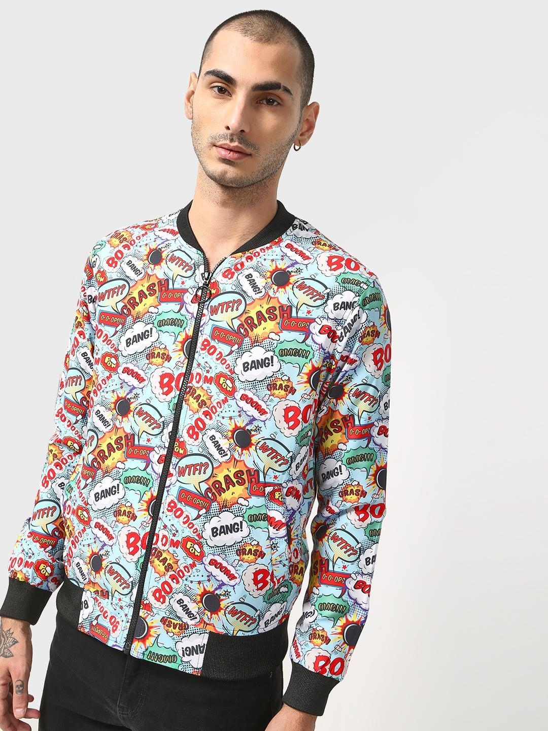 SID & SOM Multi Text Placement Print Bomber Jacket 1