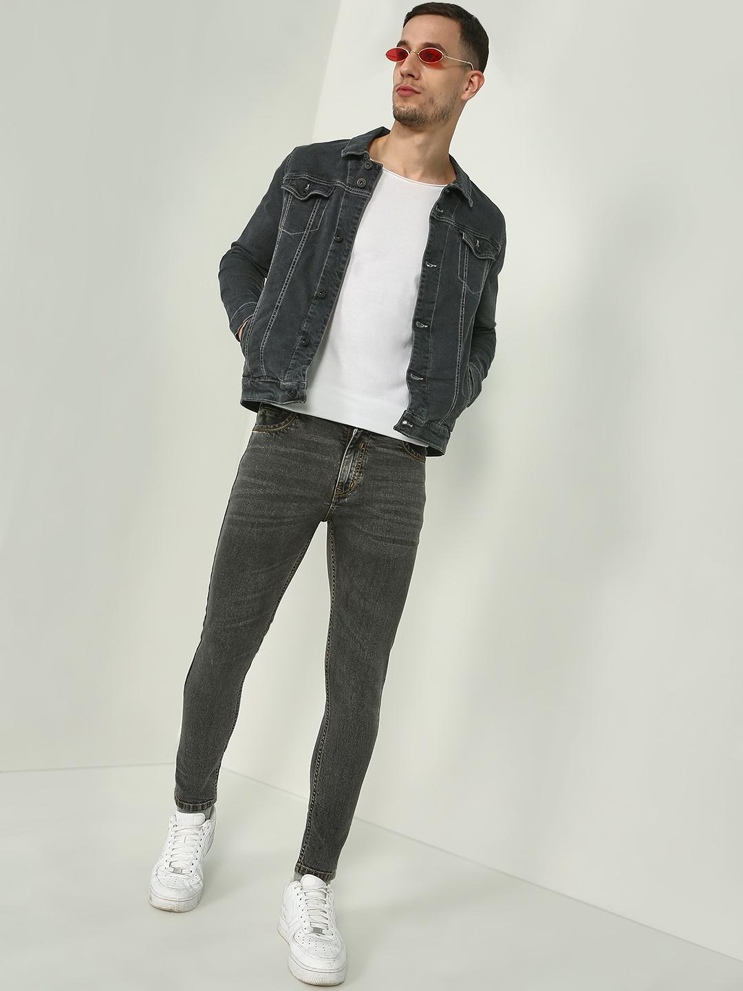 Blue Saint Grey Stone Wash Slim Fit Jacket 1