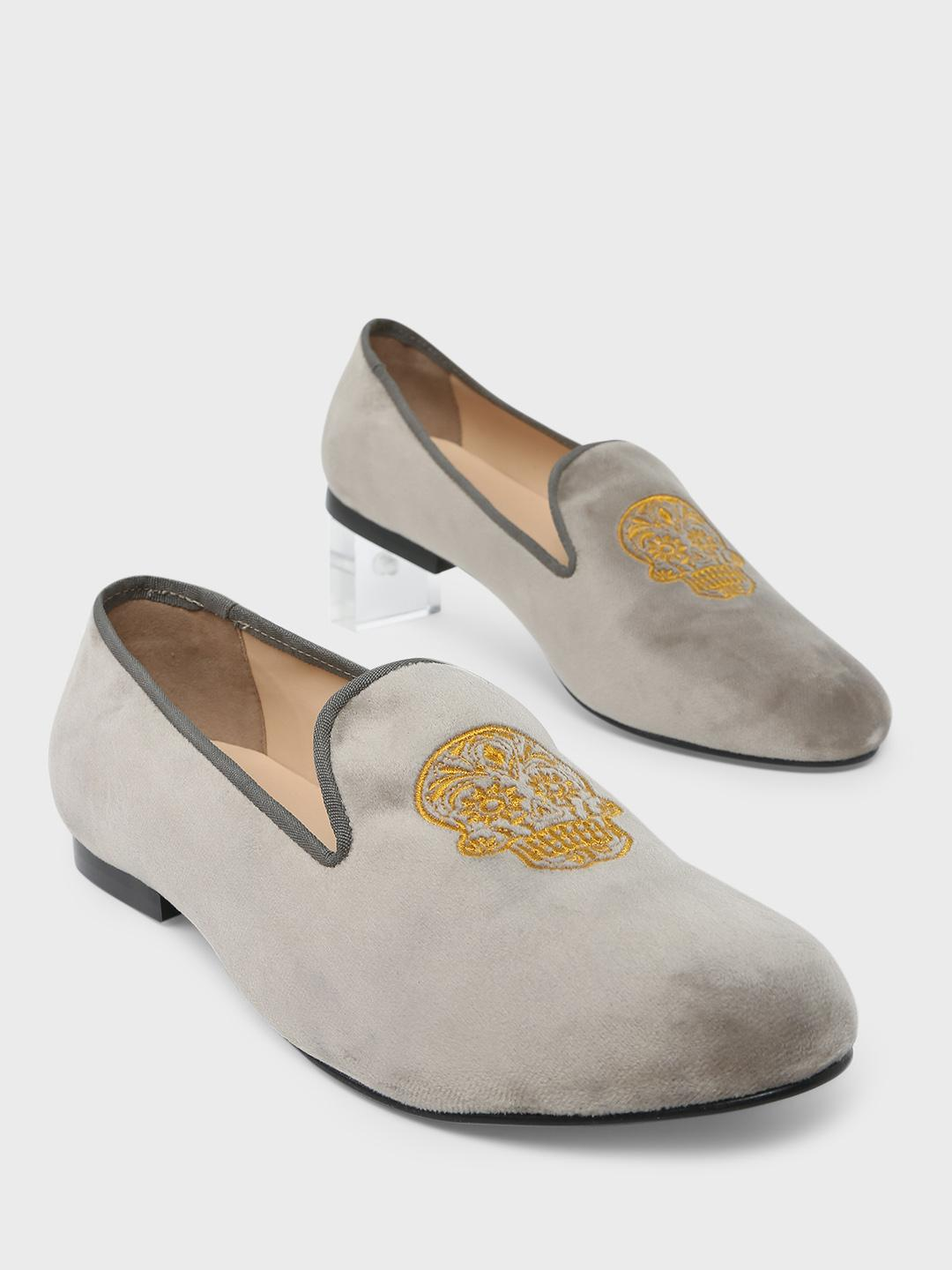 Marcello & Ferri Grey Skull Embroidered Loafers 1
