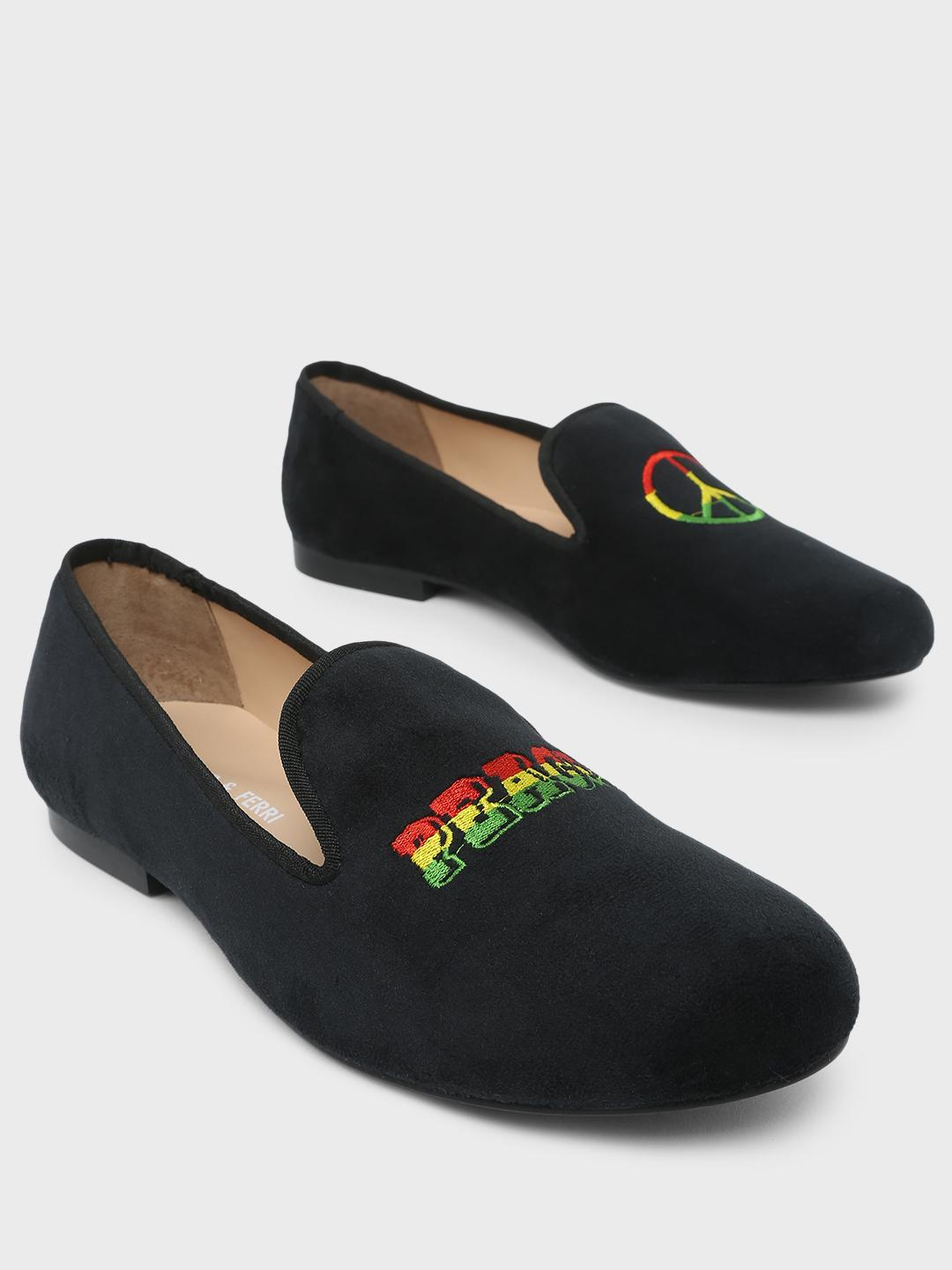 Marcello & Ferri Black Peace Embroidered Loafers 1