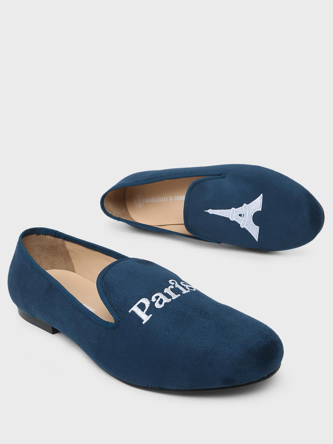 Marcello & Ferri Navy Paris Embroidered Loafers 1
