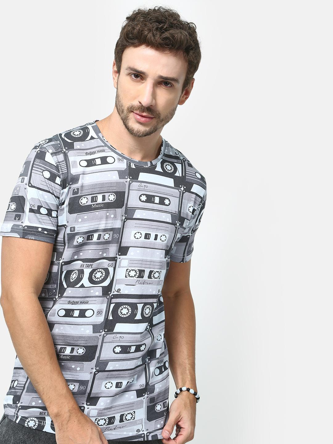 KOOVS Grey Graphic Print T-Shirt 1
