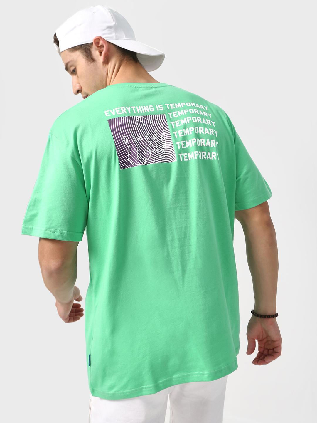 Blue Saint Green Back Abstract Slogan Print T-shirt 1