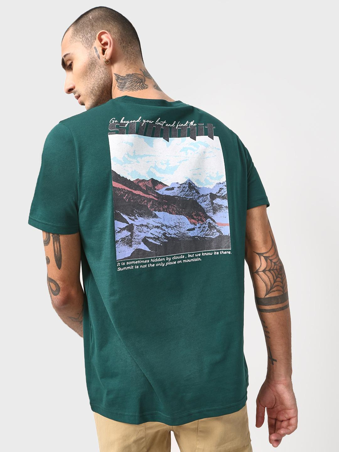 KOOVS Green Back Mountain Print Crew Neck T-shirt 1