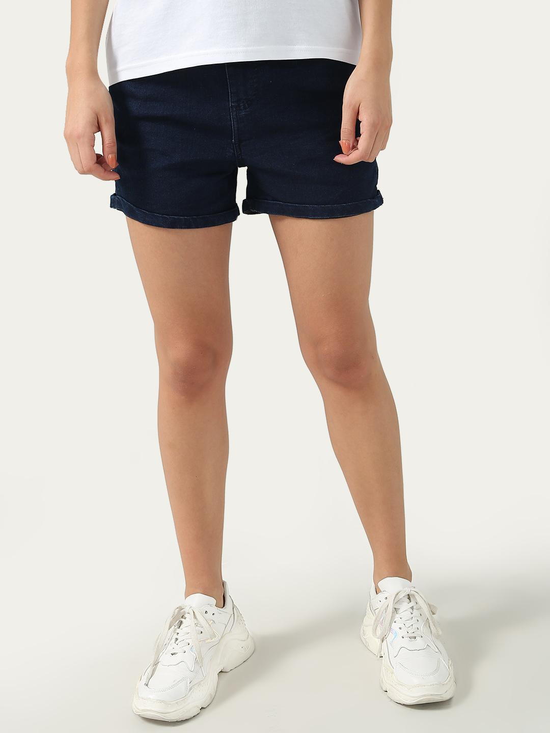 KOOVS Dark Blue Mid Rise Day Shorts 1