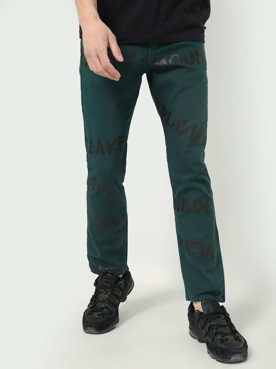 KOOVS Dark Green Text Print Mid Rise Jeans 1
