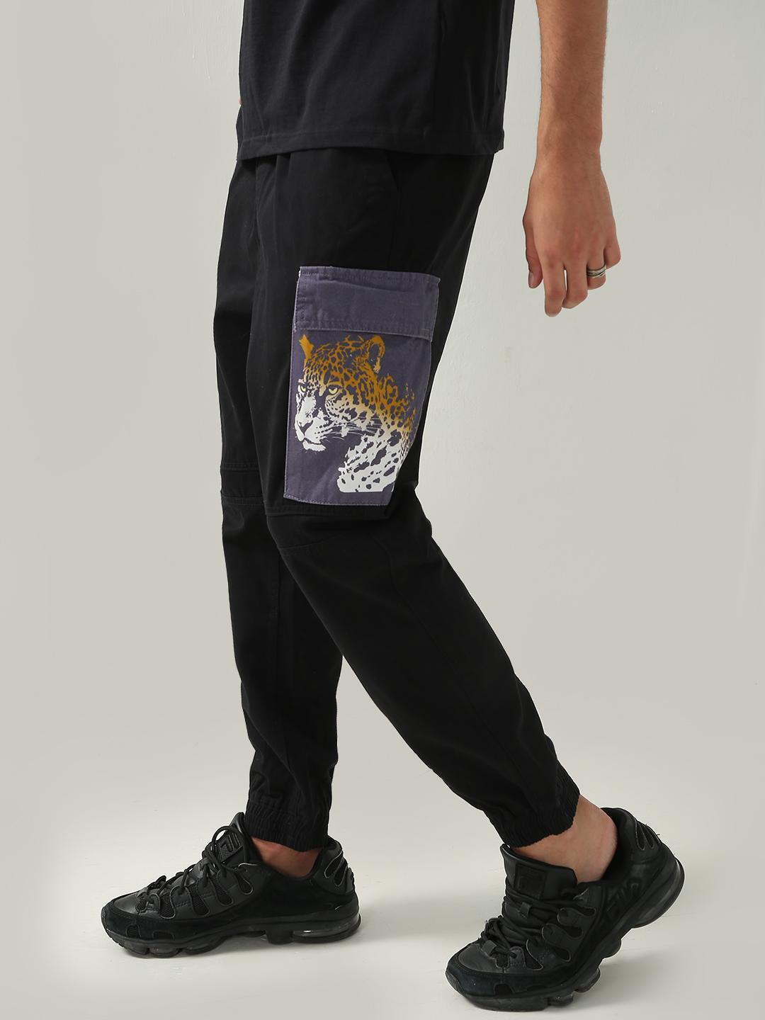 KOOVS Black Patched Graphic Print Trousers 1