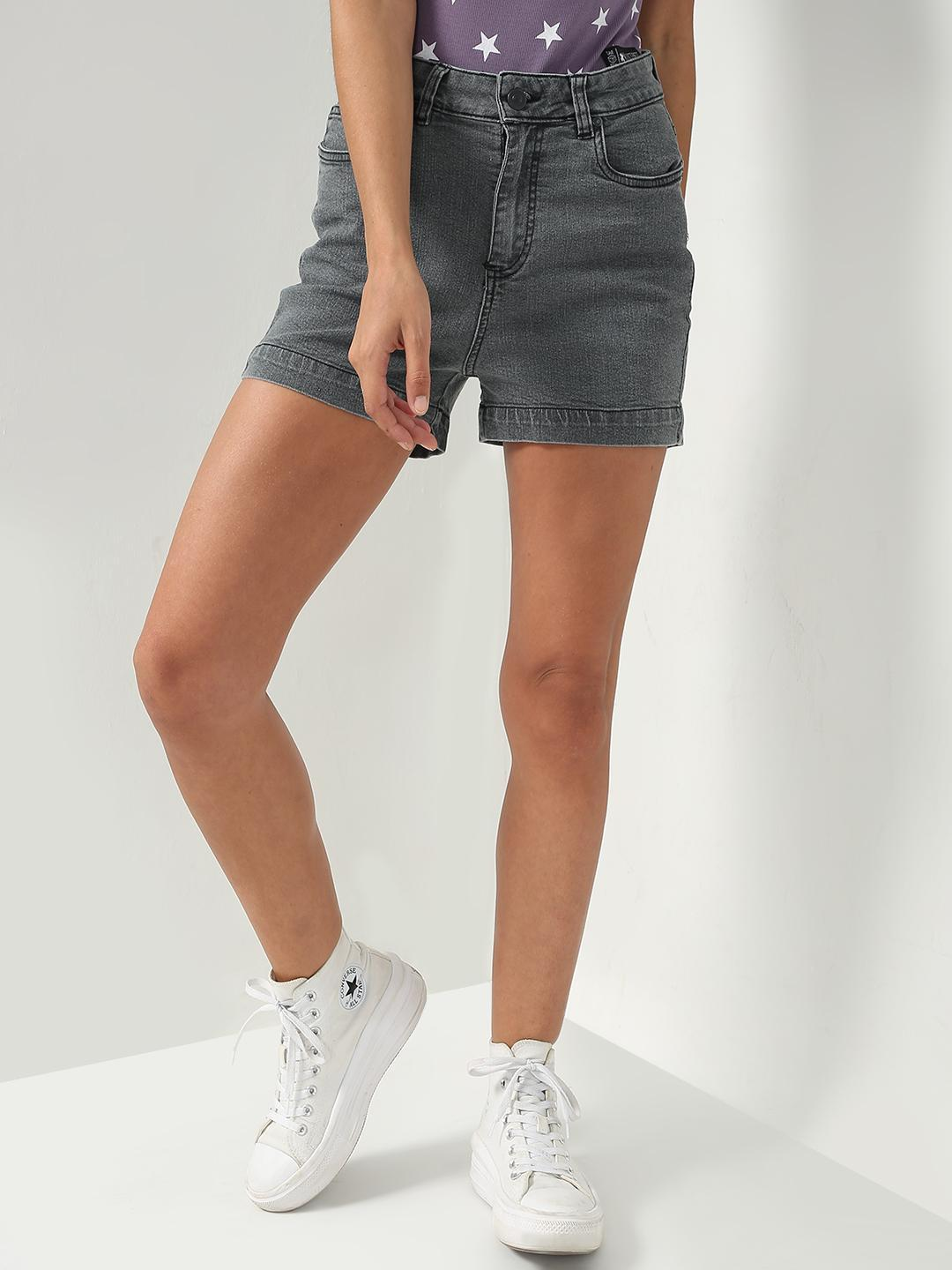 K Denim Grey KOOVS Smart Denim Shorts 1
