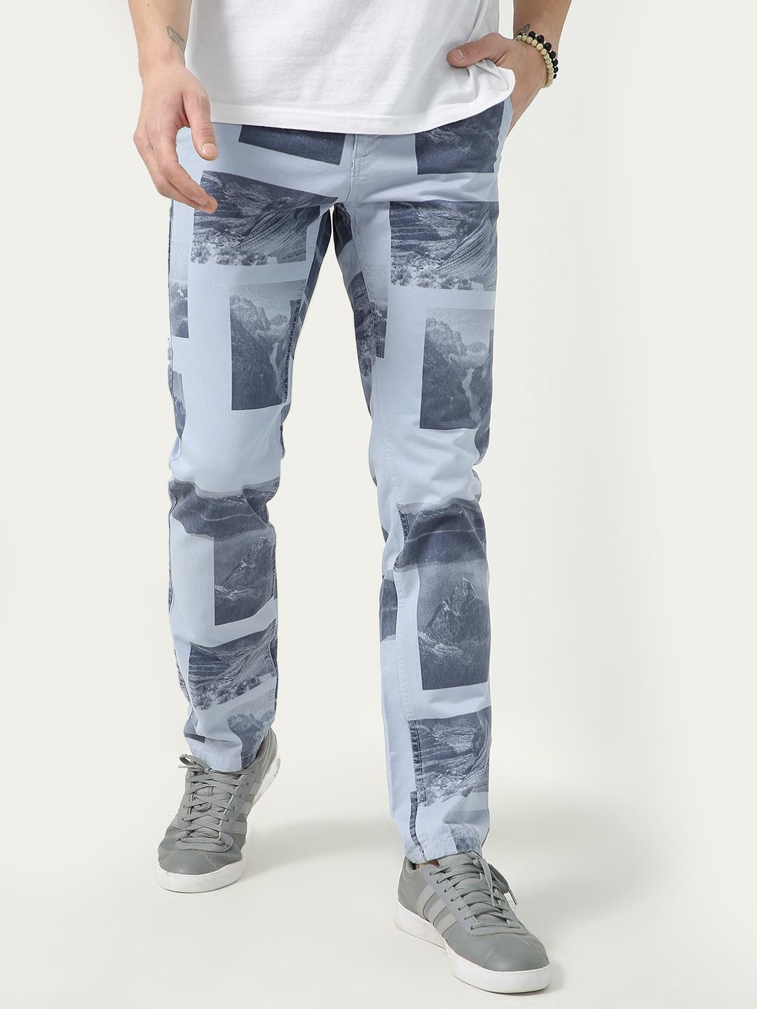 KOOVS Green Placement Scenery Print Trousers 1