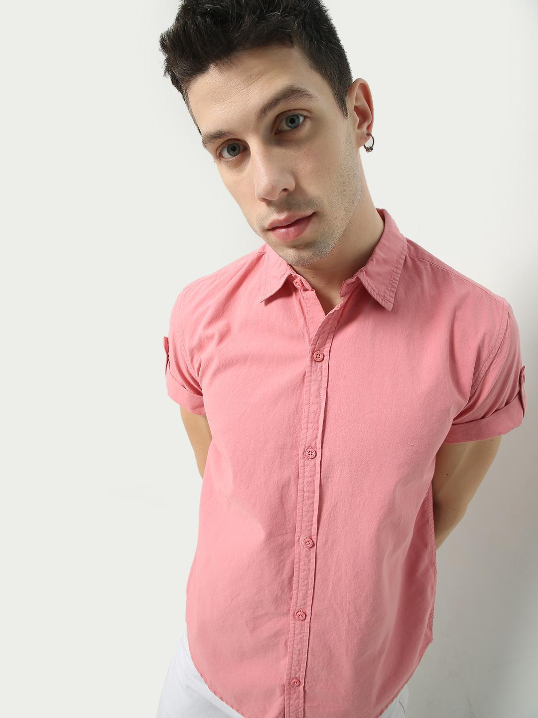 Blue Saint Pink Solid Casual Shirt 1
