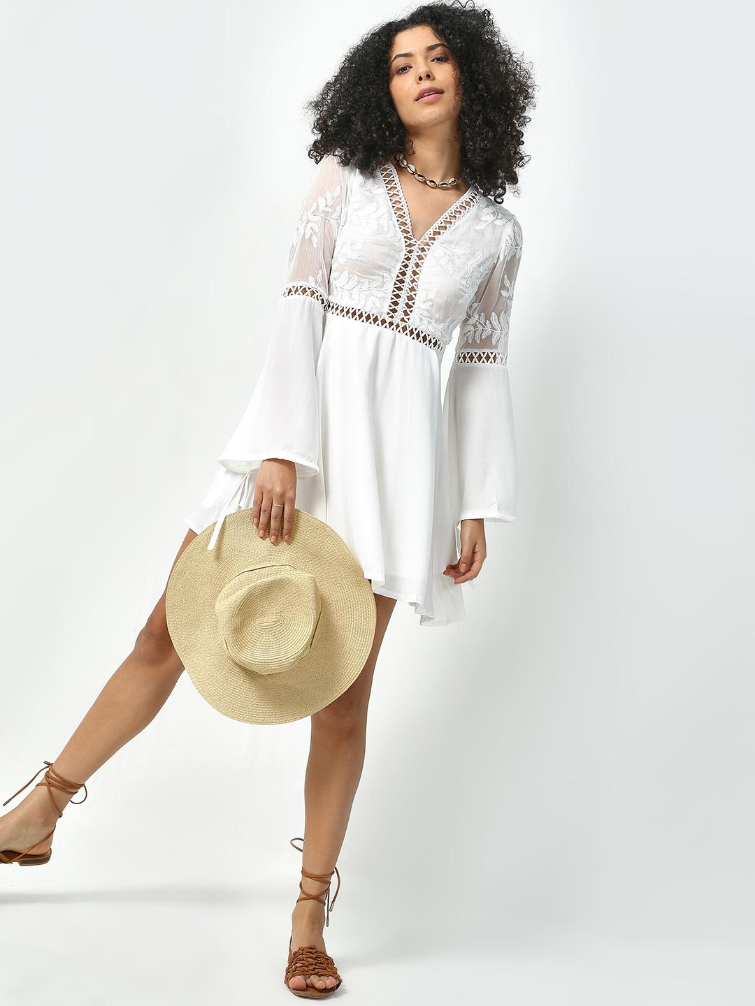 KOOVS White Embroidered Tunic Dress 1