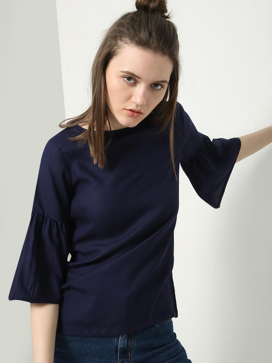 Blue Saint Navy Blue Overdyed Bell Sleeve Blouse 1