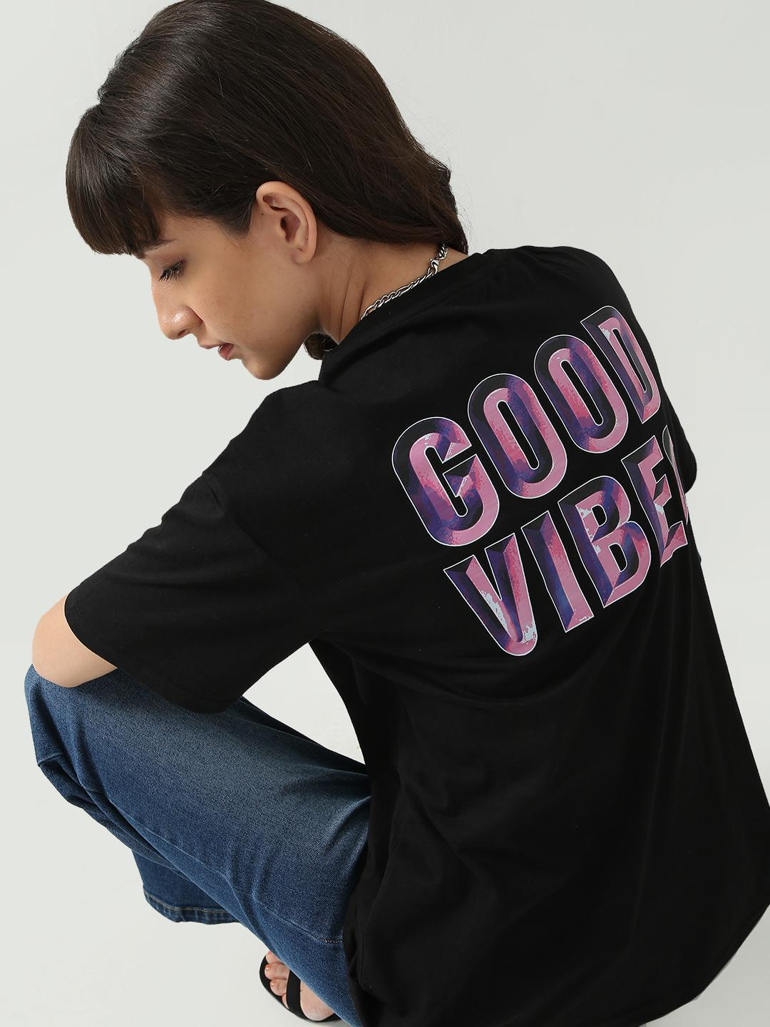 KOOVS Black Good Vibes Text Print T-shirt 1