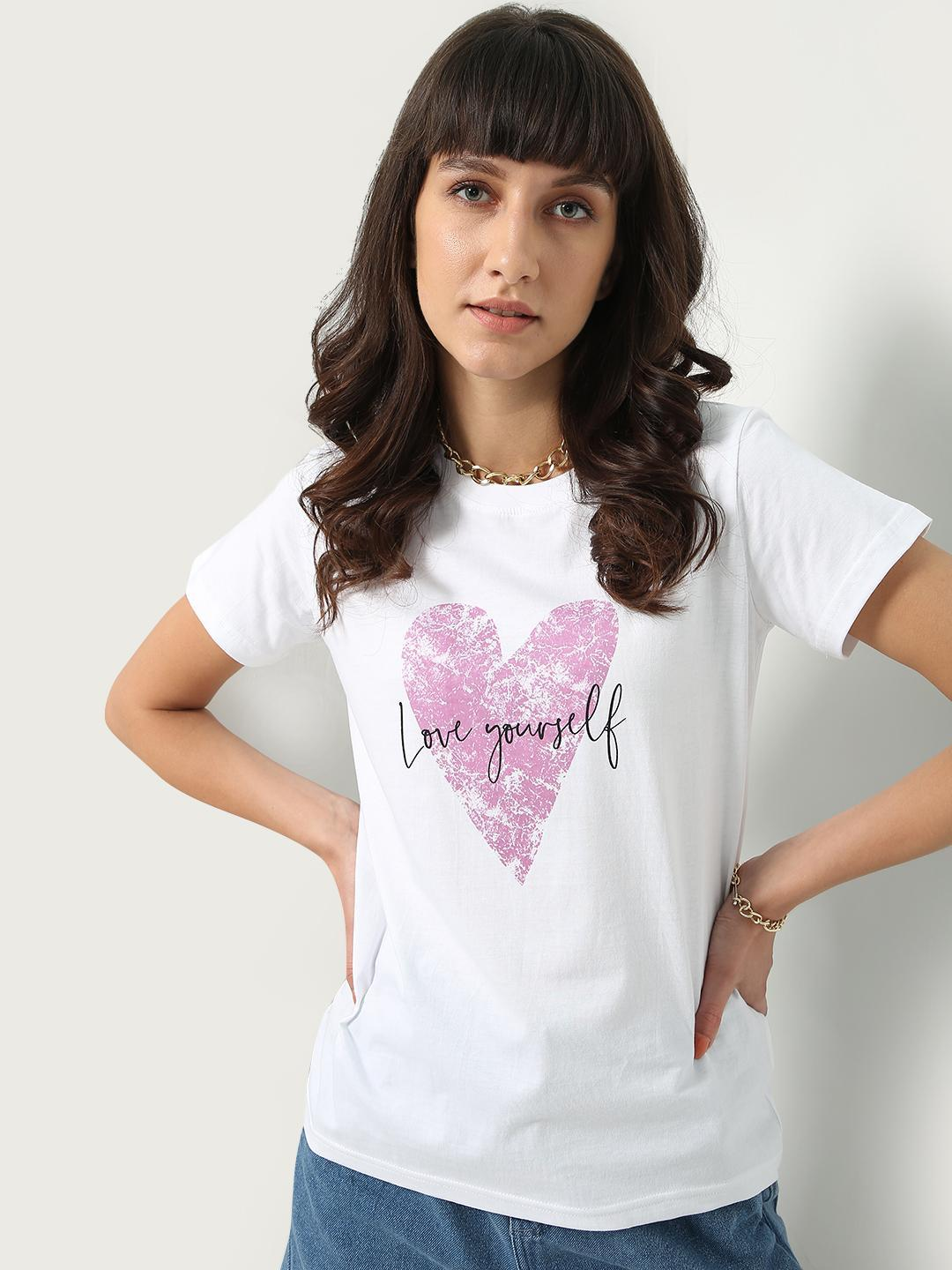 KOOVS White Love Yourself Text Print T-shirt 1