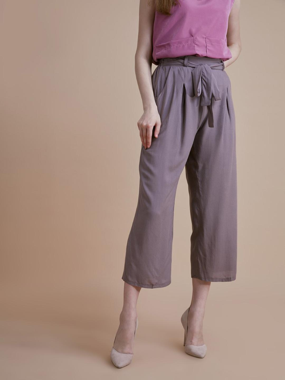 D'BASIC Grey Cropped Wide Leg Trousers 1