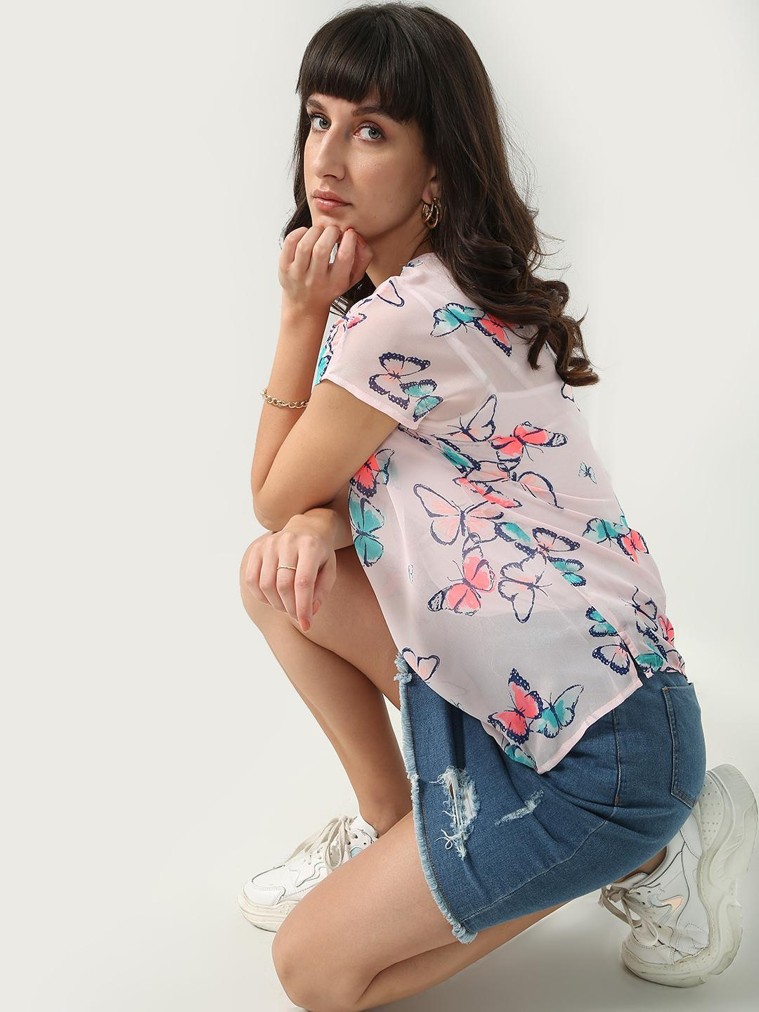 Oxolloxo Pink Butterfly Placement Print Top 1