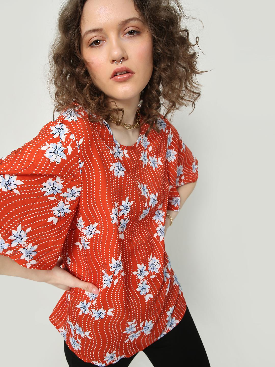 Oxolloxo Red Floral Print Tale Top 1