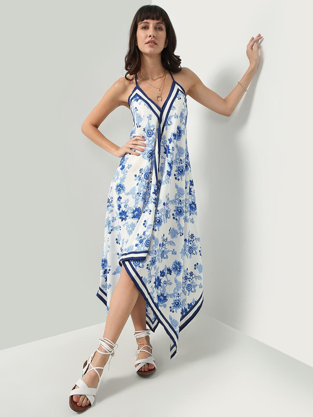 Oxolloxo White All Over Floral Print Strappy Maxi Dress 1