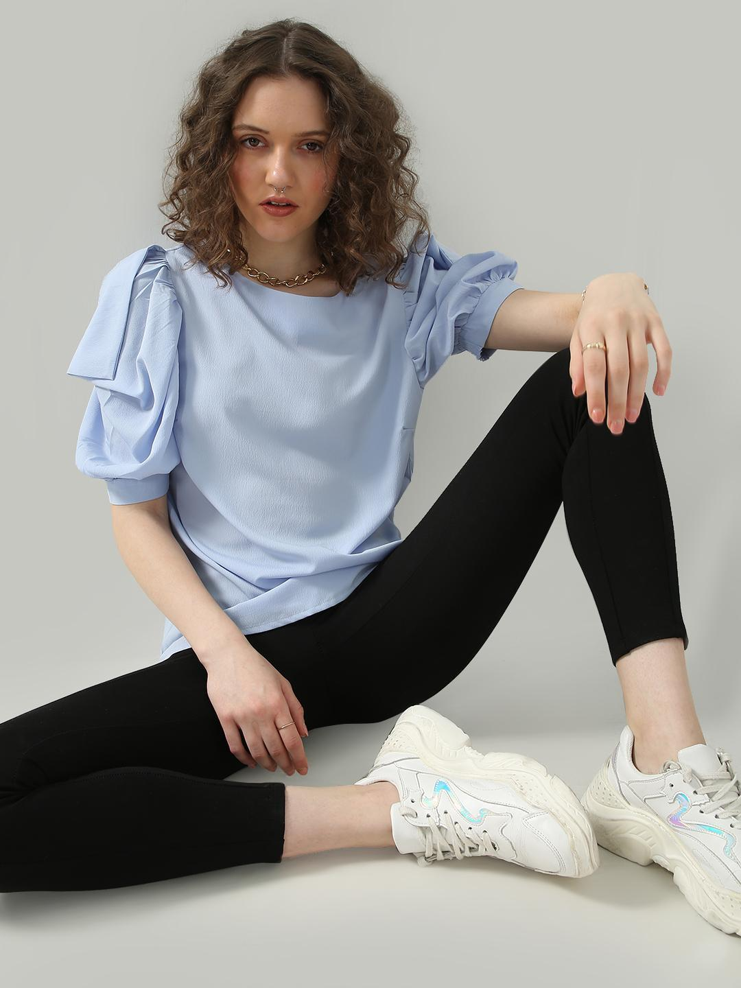 Oxolloxo Blue Causal Frill Sleeves Top 1