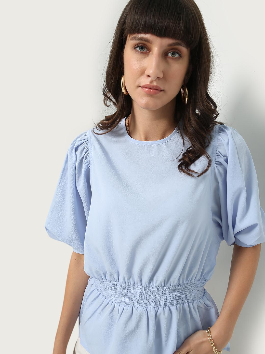 Oxolloxo Blue Solid Smocking Top 1