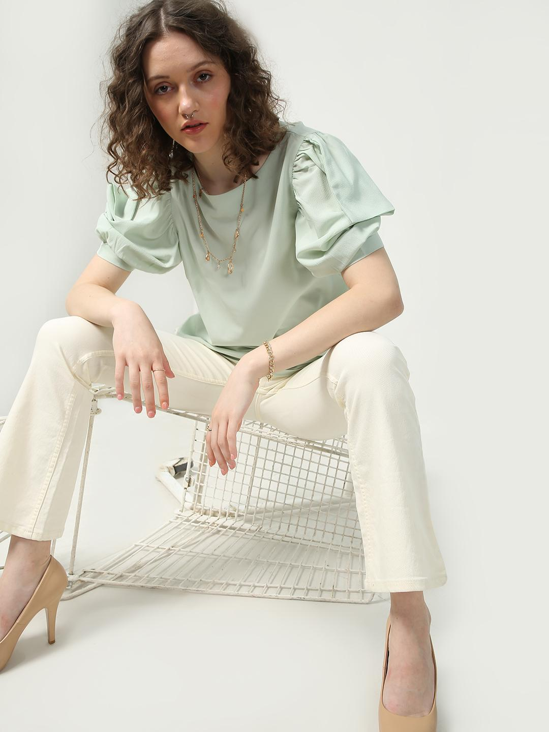 Oxolloxo Green Casual Frill Sleeves Top 1