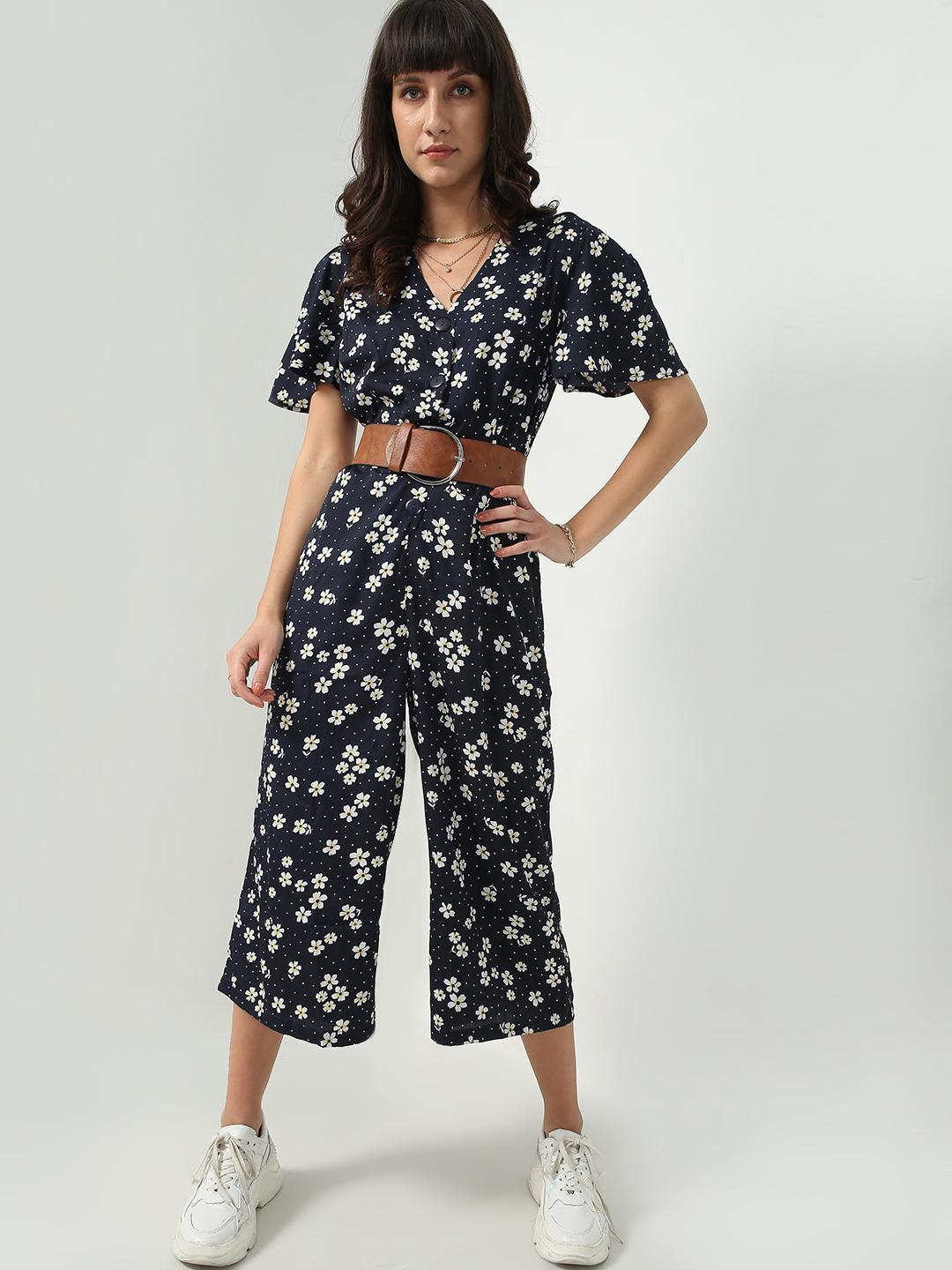 Oxolloxo Navy All-Over Floral Print Jumpsuit 1