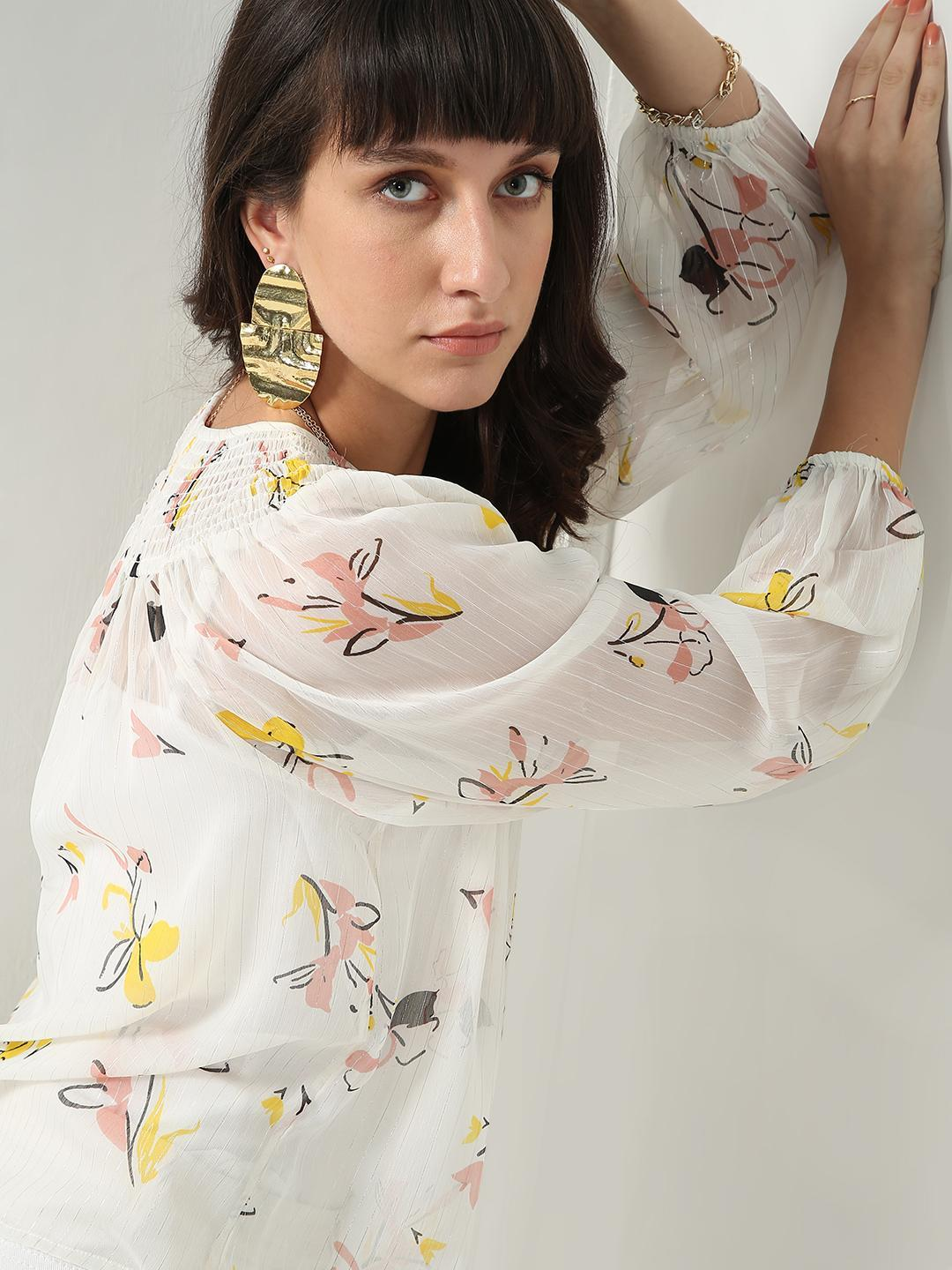 Oxolloxo Beige Floral Pleated Casual Top 1
