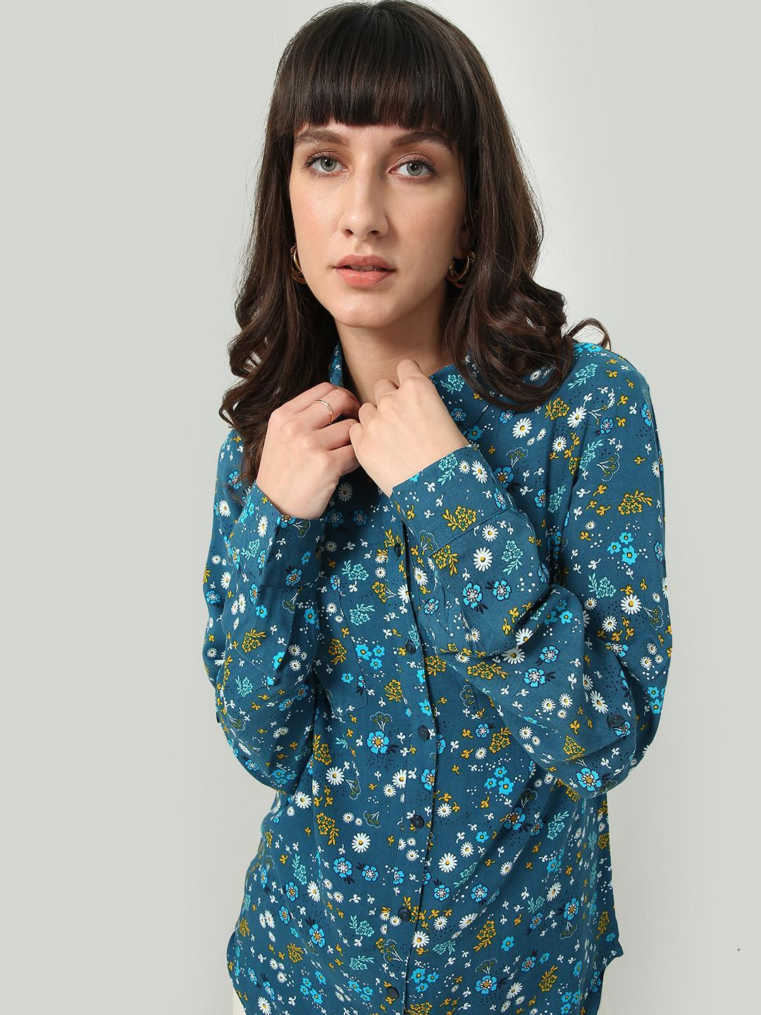 Oxolloxo Blue All-Over Floral Print Shirt 1