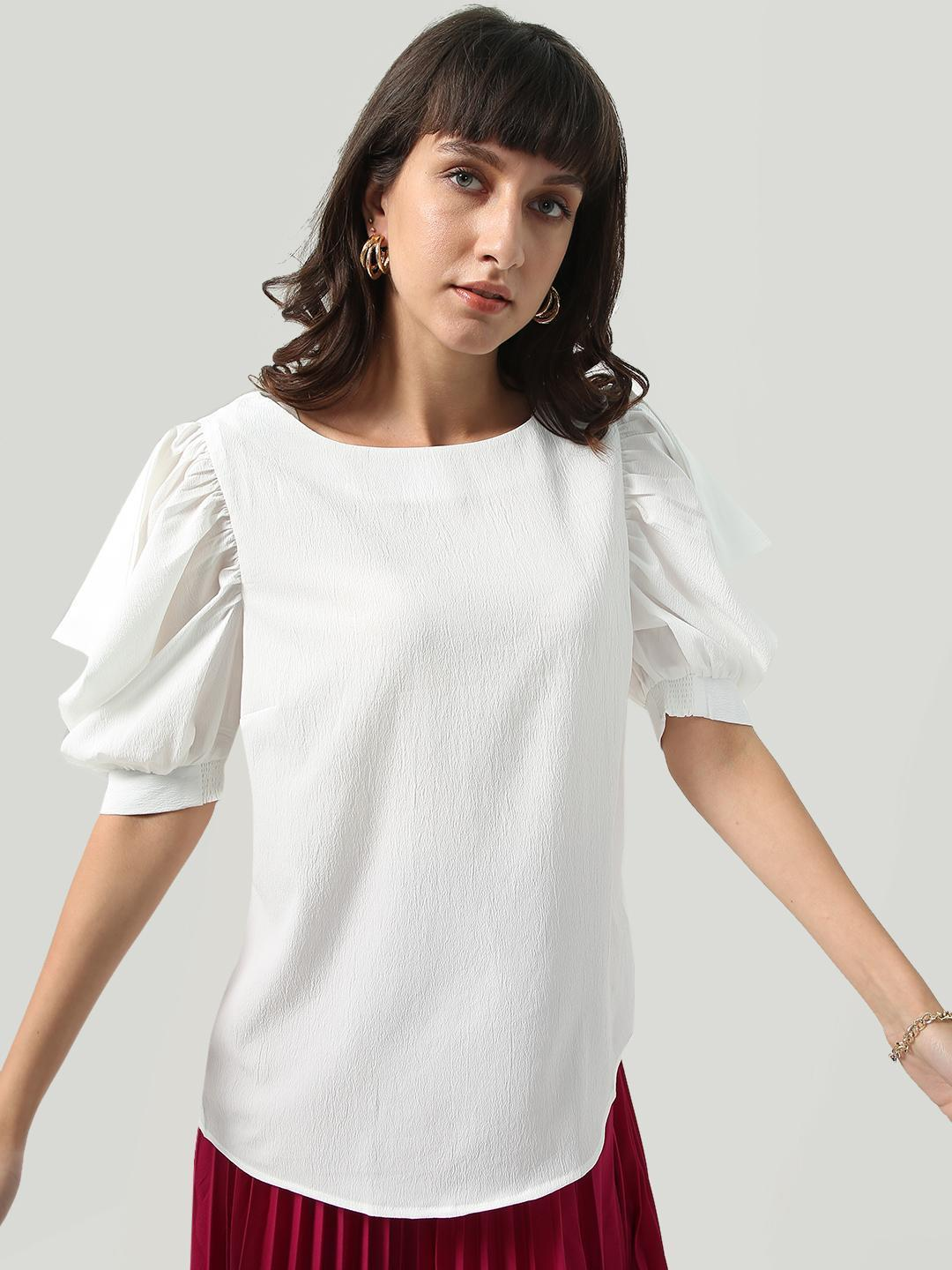 Oxolloxo White Short Cowl Sleeve Regular Fit Top 1