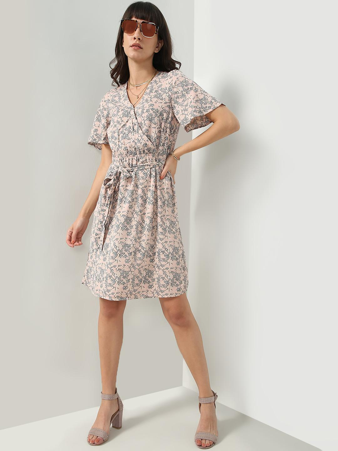 Oxolloxo Pink Floral Print Wrap Style Dress 1