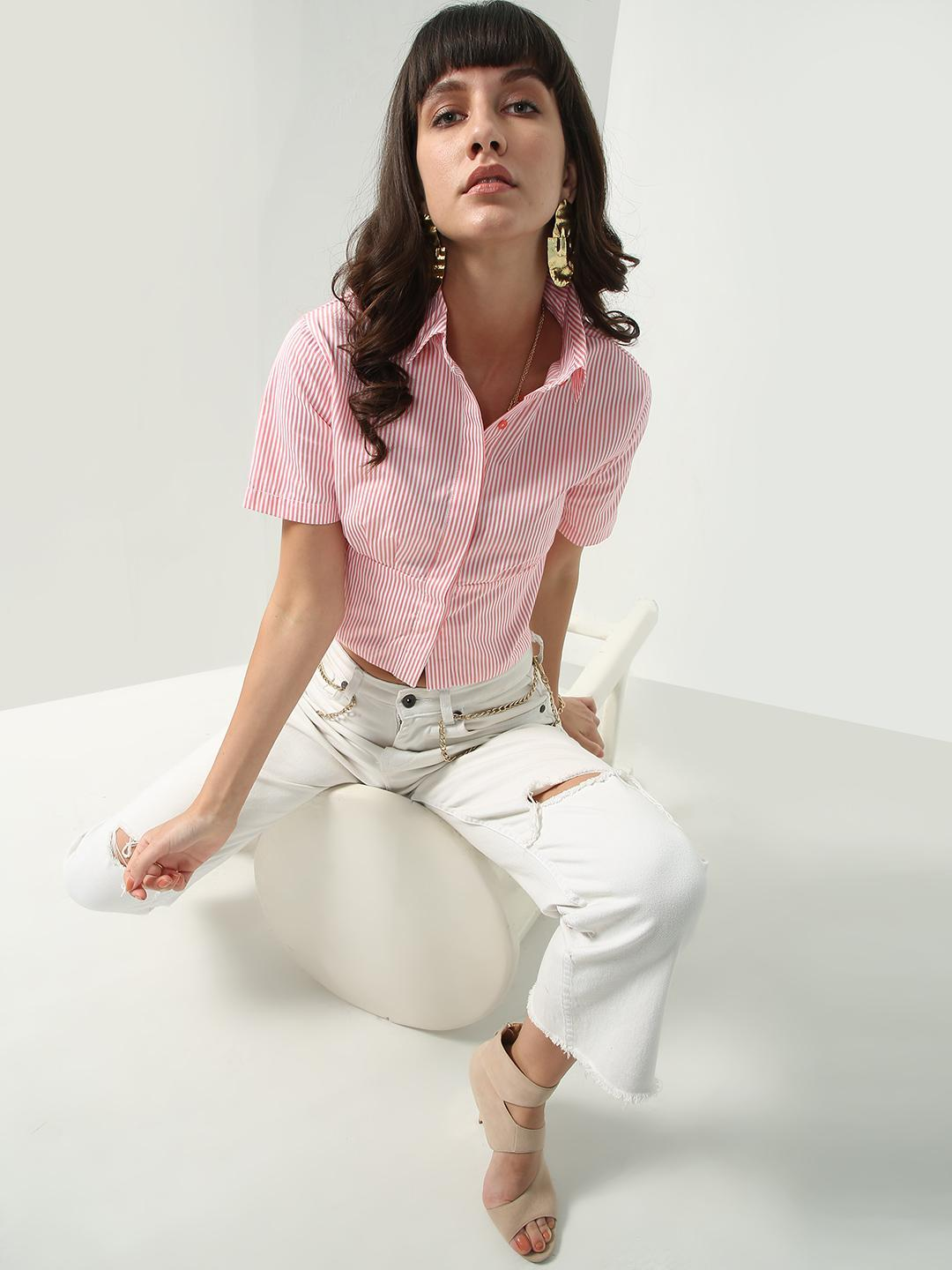 Oxolloxo Pink All Over Vertical Stripe Shirt 1
