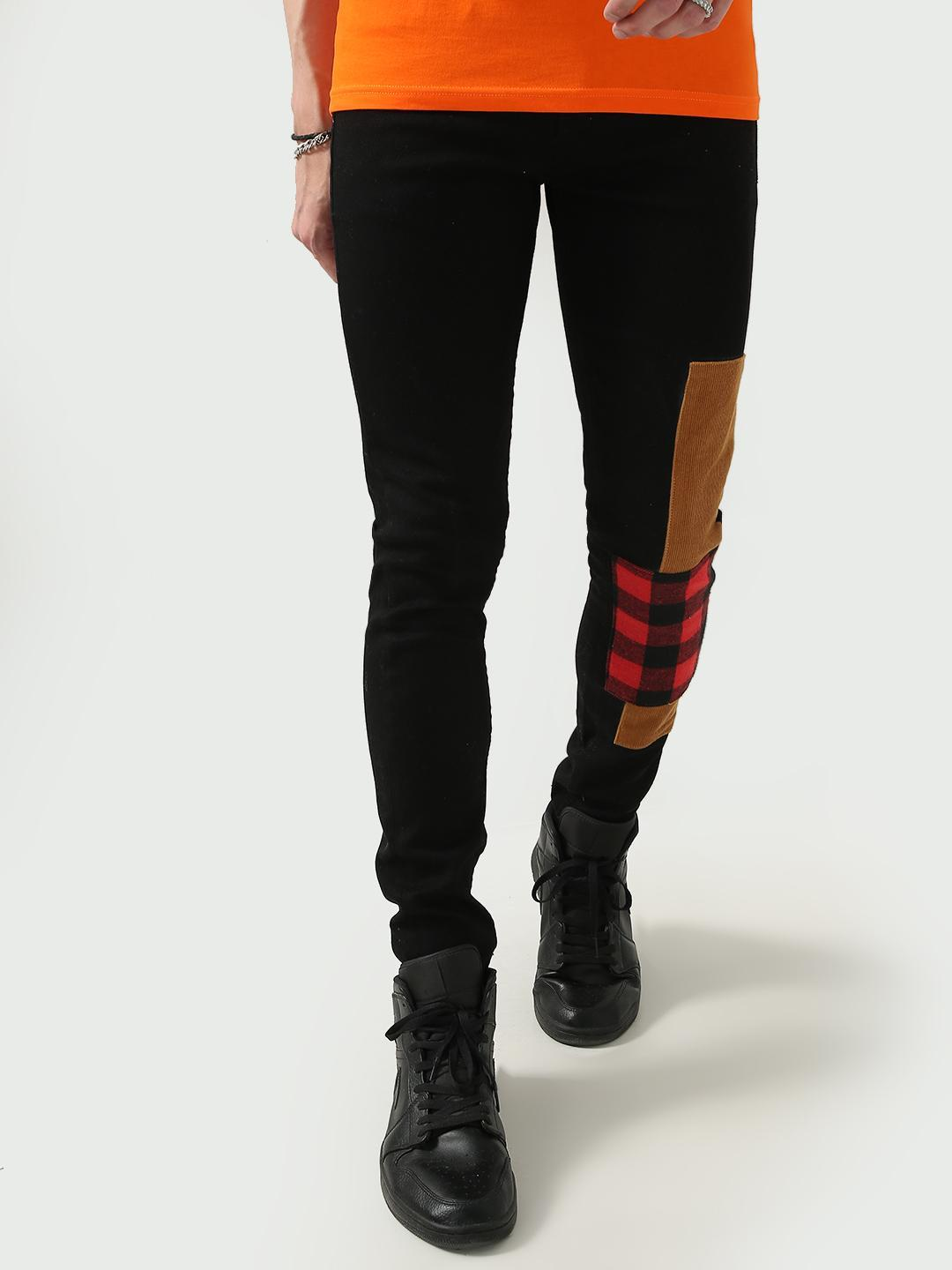FUGAZEE Black Corduroy and Plaid Check Patch Jeans 1