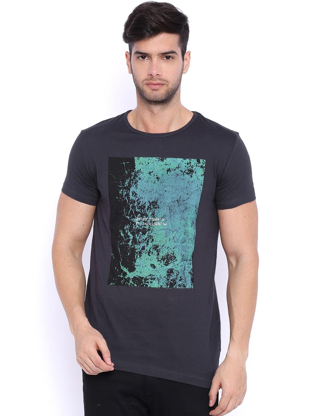 Sheltr Black/Charcoal Placement Graphic Print T-Shirt 1