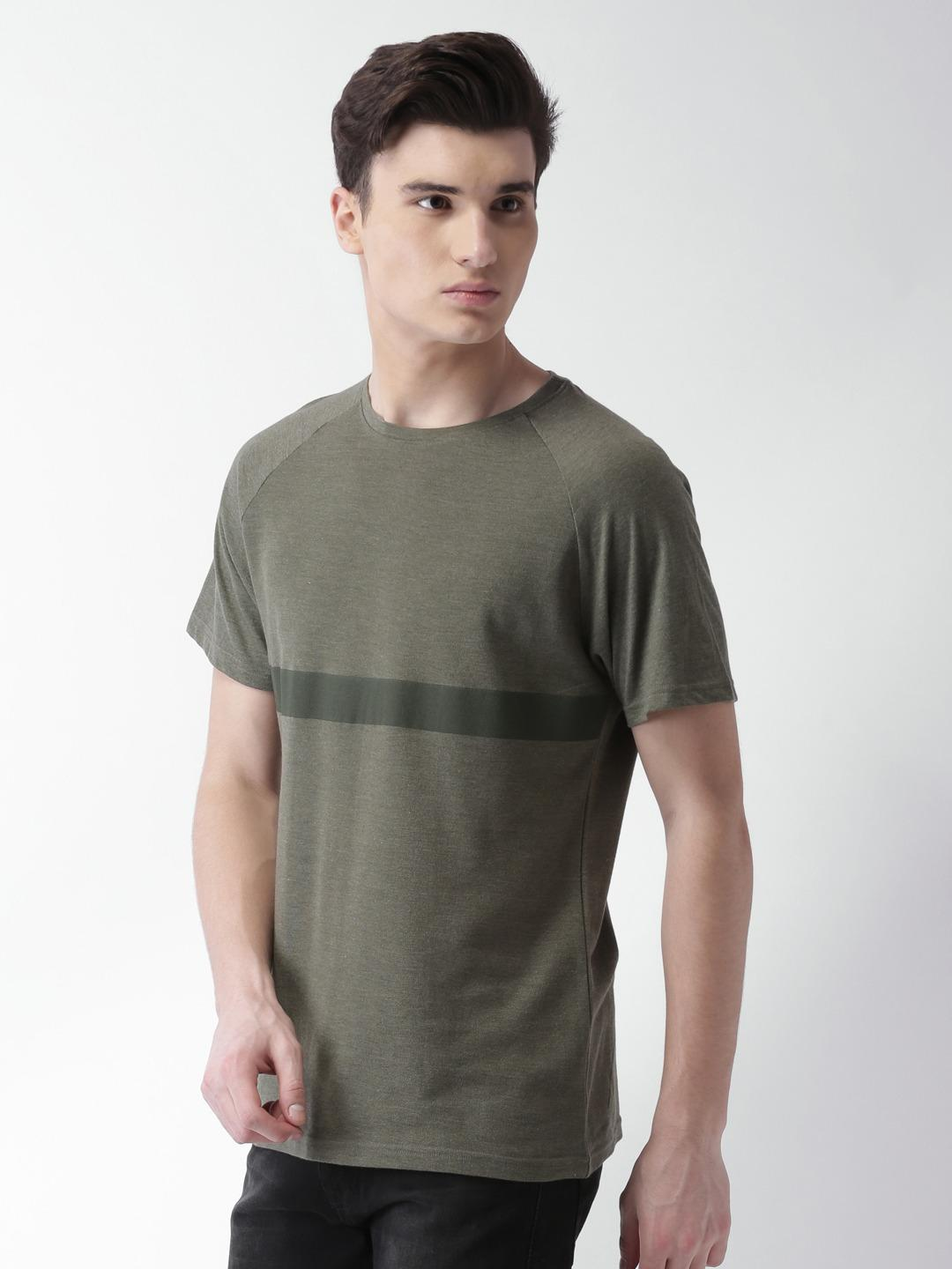 Blue Saint Olive Contrast Stripe Textured Print T-shirt 1