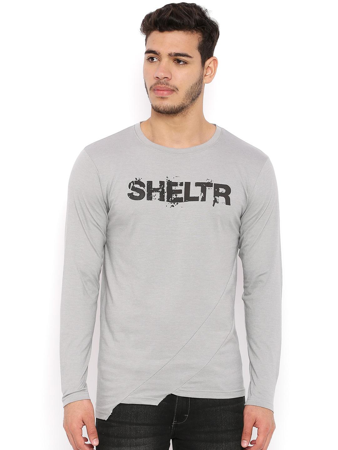 Sheltr Grey Cut & Sew Asymmetric Hem T-shirt 1