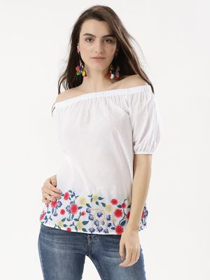 Rena Love Floral Embroidered Off Shoulder Top