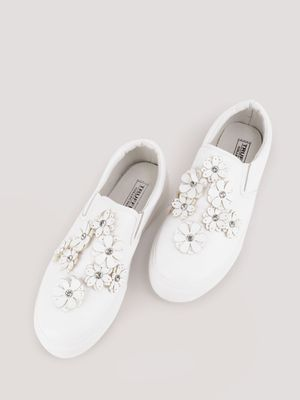 Truffle Collection Floral Applique Slip On Trainers