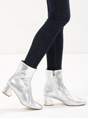 Velvet Army Ankle Boots With Flared Heel