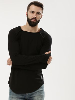 Kultprit Square Neck T-Shirt With Thumbhole