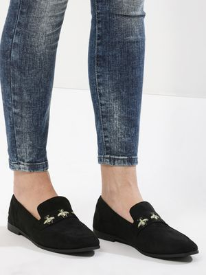 Truffle Collection Insect Embroidered Loafers