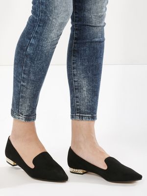 Truffle Collection Loafers With Pearl Detail Heel